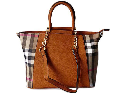 A-SHU DESIGNER STYLE TAN CHECKED HANDBAG WITH CHAIN LINKED STRAPS - A-SHU.CO.UK