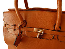 DESIGNER STYLE TAN MULTI-COMPARTMENT HOLDALL HANDBAG WITH LOCK, KEY AND LONG STRAP