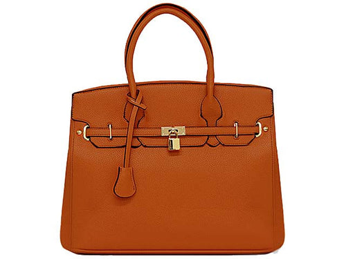 ORDER BY REQUEST - DESIGNER STYLE TAN MULTI-COMPARTMENT HOLDALL HANDBAG WITH LOCK, KEY AND LONG STRAP