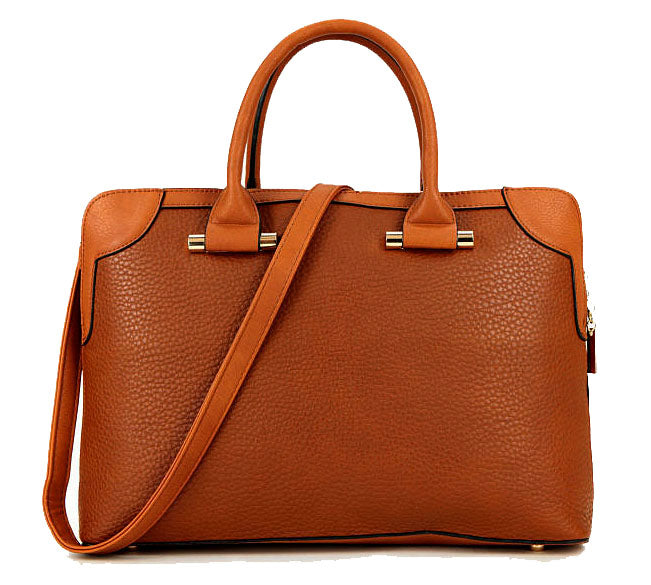 A-SHU LARGE TAN MULTI POCKET LAPTOP HANDBAG WITH LONG SHOULDER STRAP - A-SHU.CO.UK