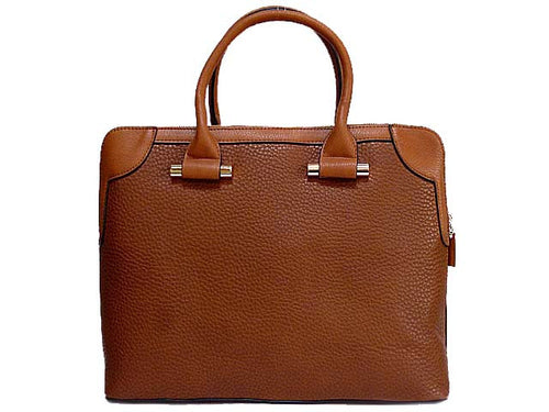 DESIGNER STYLE TAN MULTI-COMPARTMENT HOLDALL / LAPTOP HANDBAG WITH LONG STRAP