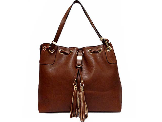 A-SHU DESIGNER STYLE TAN SHOULDER HANDBAG WITH FRINGE / TASSEL DESIGN - A-SHU.CO.UK
