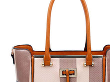 A-SHU DESIGNER STYLE TAUPE BLUSH MULTI-COMPARTMENT CHECKED HANDBAG WITH LONG STRAP - A-SHU.CO.UK