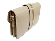 ORDER BY REQUEST - DESIGNER STYLE TAUPE GENUINE LEATHER SHOULDER BAG / CLUTCH BAG