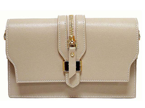 A-SHU ORDER BY REQUEST - DESIGNER STYLE TAUPE GENUINE LEATHER SHOULDER BAG / CLUTCH BAG - A-SHU.CO.UK