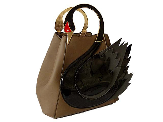 A-SHU DESIGNER STYLE TAUPE SWAN 3D 2-WAY HOLDALL HANDBAG WITH LONG STRAP - A-SHU.CO.UK