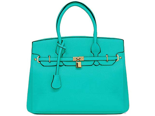 ORDER BY REQUEST - DESIGNER STYLE TURQUOISE MULTI-COMPARTMENT HOLDALL HANDBAG WITH LOCK, KEY AND LONG STRAP