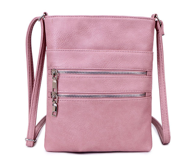DUSKY PINK SLIM MULTI POCKET CROSS BODY BAG WITH LONG SHOULDER STRAP