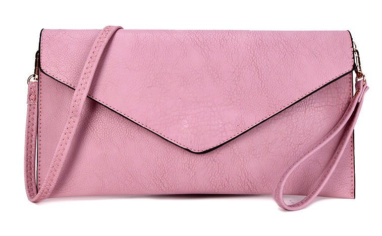 A-SHU DUSKY PINK OVER-SIZED ENVELOPE CLUTCH BAG WITH LONG CROSS BODY AND WRISTLET STRAP - A-SHU.CO.UK
