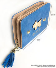 SMALL METALLIC BLUE BLUE BI-FOLD DOG WALLET COIN PURSE WITH TASSEL