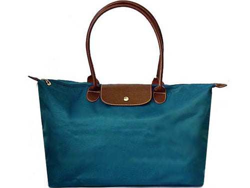A-SHU EXTRA LARGE MID BLUE NYLON REAL LEATHER FOLD-AWAY SHOPPER TOTE TRAVEL HANDBAG - A-SHU.CO.UK