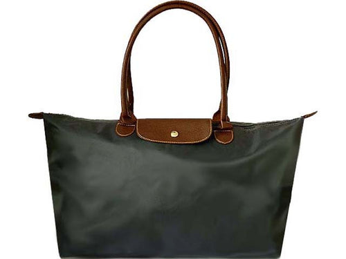 A-SHU EXTRA LARGE GREY NYLON REAL LEATHER FOLD-AWAY SHOPPER TOTE TRAVEL HANDBAG - A-SHU.CO.UK