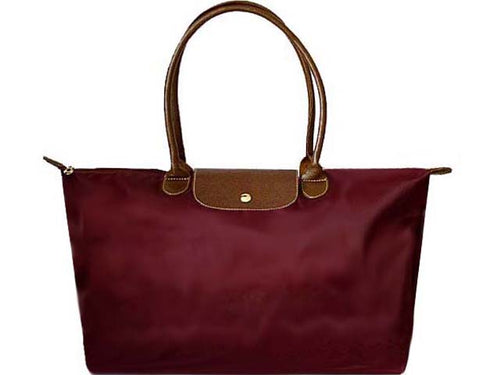 A-SHU EXTRA LARGE MAROON NYLON REAL LEATHER FOLD-AWAY SHOPPER TOTE TRAVEL HANDBAG - A-SHU.CO.UK