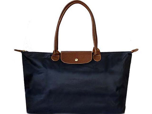 A-SHU EXTRA LARGE NAVY BLUE NYLON REAL LEATHER FOLD-AWAY SHOPPER TOTE TRAVEL HANDBAG - A-SHU.CO.UK