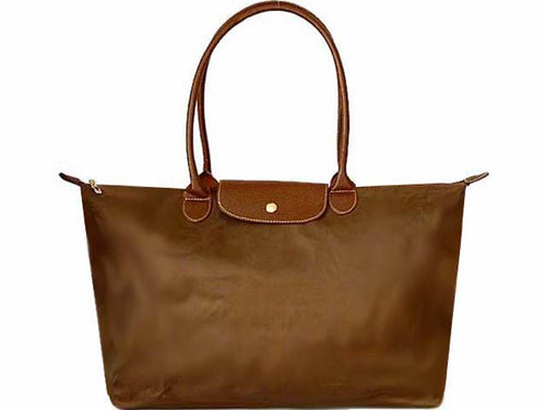 A-SHU EXTRA LARGE TAUPE NYLON REAL LEATHER FOLD-AWAY SHOPPER TOTE TRAVEL HANDBAG - A-SHU.CO.UK