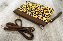 A-SHU FAUX FUR BROWN LEOPARD PRINT CLUTCH BAG WITH WRISTLET AND LONG CROSS BODY SHOULDER STRAP - A-SHU.CO.UK