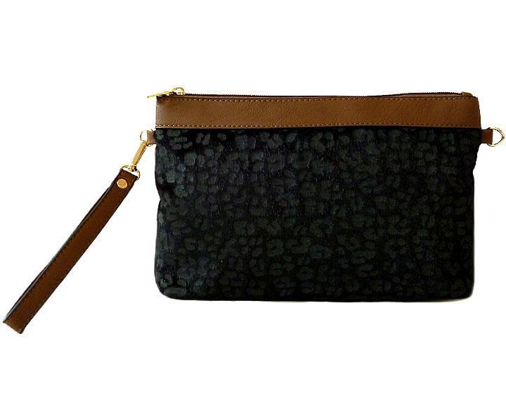 A-SHU BLACK FAUX FUR LEOPARD PRINT CLUTCH BAG WITH WRISTLET AND LONG CROSS BODY SHOULDER STRAP - A-SHU.CO.UK
