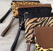 A-SHU FAUX FUR LEOPARD PRINT CLUTCH BAG WITH WRISTLET AND LONG CROSS BODY SHOULDER STRAP - A-SHU.CO.UK