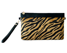 A-SHU FAUX FUR ZEBRA PRINT CLUTCH BAG WITH WRISTLET AND LONG CROSS BODY SHOULDER STRAP - BLACK - A-SHU.CO.UK