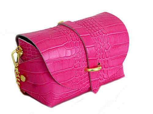 FUSCHIA PINK GENUINE LEATHER CROC PRINT CROSS BODY BAG WITH CHAIN STRAP