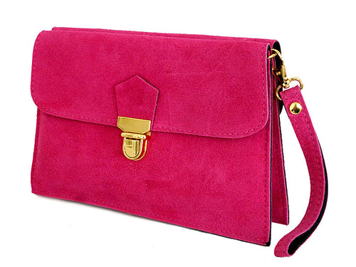 FUSCHIA PINK GENUINE SUEDE CLUTCH BAG WITH WRISTLET AND SHOULDER STRAPS
