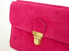 A-SHU FUSCHIA PINK GENUINE SUEDE CLUTCH BAG WITH WRISTLET AND SHOULDER STRAPS - A-SHU.CO.UK