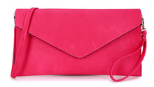 A-SHU FUSCHIA PINK OVER-SIZED ENVELOPE CLUTCH BAG WITH LONG CROSS BODY AND WRISTLET STRAP - A-SHU.CO.UK