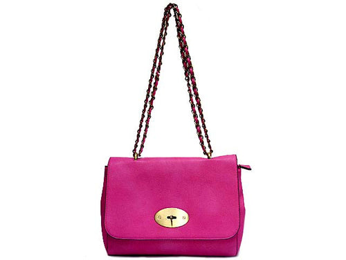 A-SHU FUSHCIA PINK LEATHER EFFECT CLASSIC SHOULDER HANDBAG WITH CHAIN LINKED STRAP - A-SHU.CO.UK