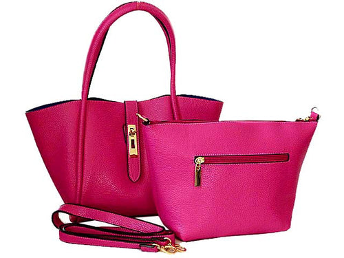 FUSHCIA PINK LEATHER EFFECT TOTE HANDBAG SET WITH DETACHABLE INTERNAL BAG AND LONG STRAP