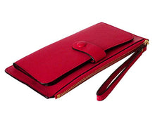 A-SHU FUSHCIA PINK SLIM LINE MULTI-COMPARTMENT PURSE WITH WRIST STRAP - A-SHU.CO.UK