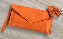 A-SHU GENUINE SUEDE GREY OVER-SIZED ENVELOPE CLUTCH BAG / SHOULDER BAG WITH LONG SHOULDER STRAP - A-SHU.CO.UK