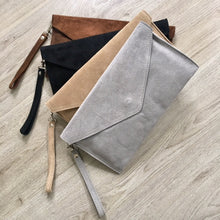 A-SHU GENUINE SUEDE MID BROWN OVER-SIZED ENVELOPE CLUTCH BAG / SHOULDER BAG WITH LONG SHOULDER STRAP - A-SHU.CO.UK
