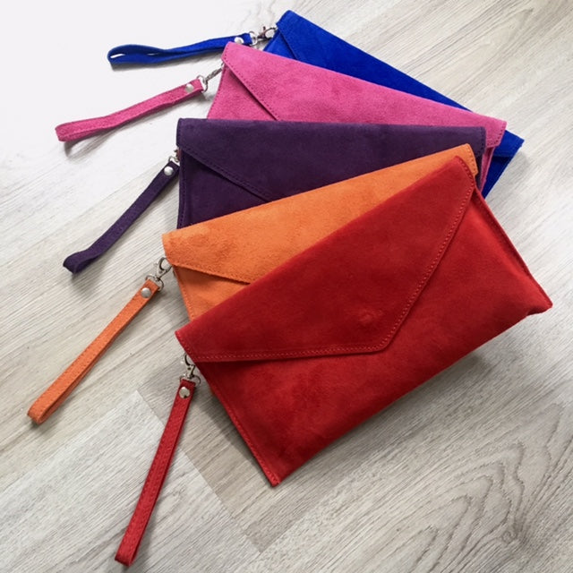 A-SHU GENUINE SUEDE PURPLE OVER-SIZED ENVELOPE CLUTCH BAG / SHOULDER BAG WITH LONG SHOULDER STRAP - A-SHU.CO.UK