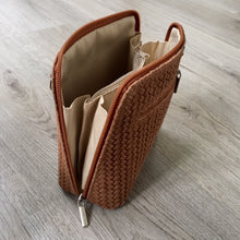 SMALL BROWN GENUINE LEATHER WOVEN BAG WITH LONG SHOULDER STRAP