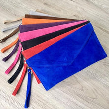 A-SHU GENUINE SUEDE BLUE OVER-SIZED ENVELOPE CLUTCH BAG / SHOULDER BAG WITH LONG SHOULDER STRAP - A-SHU.CO.UK