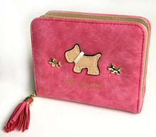 SMALL FUSCHIA PINK BI-FOLD DOG WALLET COIN PURSE WITH TASSEL