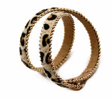 A-SHU GENUINE LEATHER BEIGE LEOPARD PRINT DOUBLE STRAP BRACELET - A-SHU.CO.UK