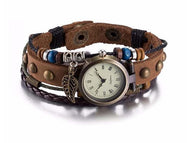 A-SHU GENUINE LEATHER BROWN BRACELET WATCH WITH LEAF CHARM - A-SHU.CO.UK