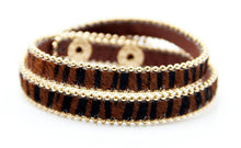 A-SHU GENUINE LEATHER BROWN LEOPARD PRINT DOUBLE STRAP BRACELET - A-SHU.CO.UK