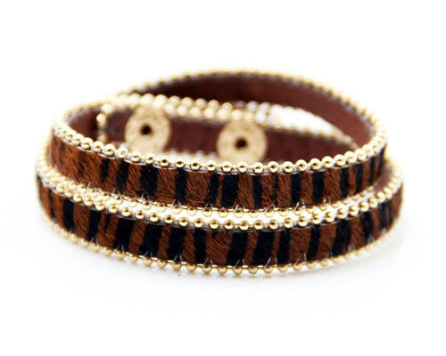 GENUINE LEATHER BROWN LEOPARD PRINT DOUBLE STRAP BRACELET
