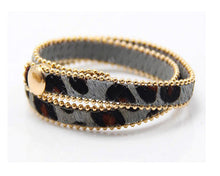 A-SHU GENUINE LEATHER GREY LEOPARD PRINT DOUBLE STRAP BRACELET - A-SHU.CO.UK