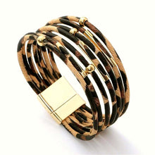 A-SHU GENUINE LEATHER MULTI STRAND BEIGE LEOPARD PRINT CUFF BRACELET - A-SHU.CO.UK