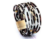 A-SHU GENUINE LEATHER MULTI STRAND WHITE LEOPARD PRINT CUFF BRACELET - A-SHU.CO.UK