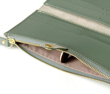 A-SHU PASTEL BLUE FAUX LEATHER SLIM MULTI-COMPARTMENT PURSE WALLET WITH MOBILE PHONE SLOT - A-SHU.CO.UK