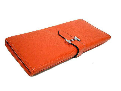 DESIGNER STYLE GENUINE LEATHER PURSE - ORANGE