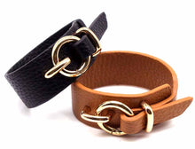 A-SHU BLACK GENUINE LEATHER WIDE CUFF BRACELET WITH BUCKLE CLOSURE - A-SHU.CO.UK