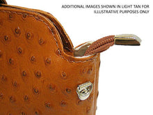 SMALL DARK TAN GENUINE OSTRICH LEATHER BAG WITH LONG SHOULDER STRAP