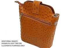 A-SHU SMALL DARK TAN GENUINE OSTRICH LEATHER BAG WITH LONG SHOULDER STRAP - A-SHU.CO.UK
