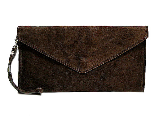 ORDER BY REQUEST - GENUINE SUEDE BROWN OVER-SIZED ENVELOPE CLUTCH BAG / SHOULDER BAG WITH LONG SHOULDER STRAP