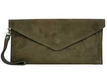 A-SHU GENUINE SUEDE DARK GREY OVER-SIZED ENVELOPE CLUTCH BAG / SHOULDER BAG WITH LONG SHOULDER STRAP - A-SHU.CO.UK